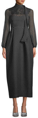 Valentino Long-Sleeve Polka-Dot Maxi Dress