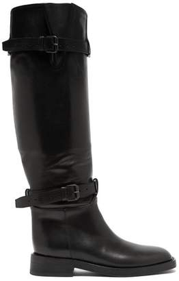 Ann Demeulemeester Buckled Knee High Leather Boots - Womens - Black