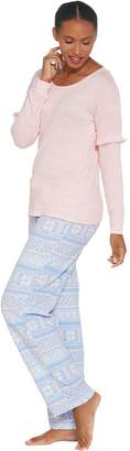 Muk Luks Butter Knit Sleep Top and Fleece Pant Pajama Set