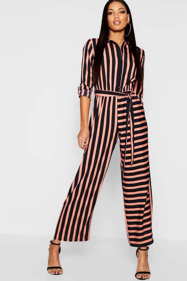 Stripe Shirt Jumpsuit