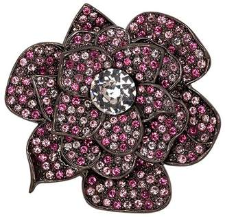 Kenneth Jay Lane Gunmetal Pink Crystal Flower Pin