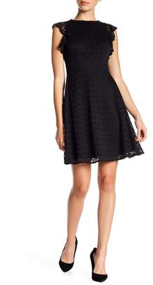 London Times Stretch Lace Fit N Flare Dress (Petite)