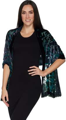 Joan Rivers Classics Collection Joan Rivers Velvet and Chiffon Ombre Floral Scarf