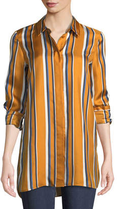 Lafayette 148 New York Barry Long-Sleeve Button-Front Striped Silk Blouse