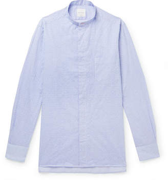 Paul Smith Grandad-Collar Striped Textured-Cotton Shirt