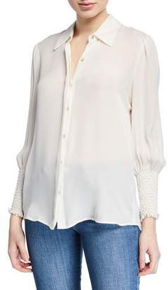 L'Agence Lucien Smocked-Cuff Collared Blouse