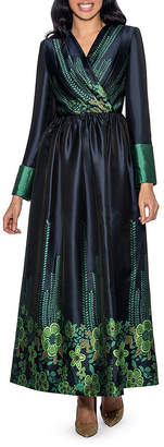 GIOVANNA COLLECTION Giovanna Collection Women's Digital Weave Pleated Long Dress