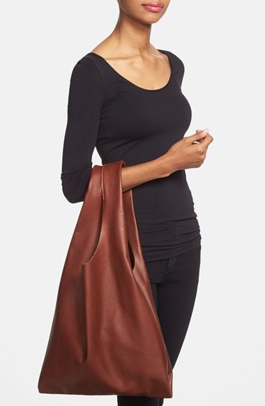 Baggu 'Medium' Leather Shoulder Bag