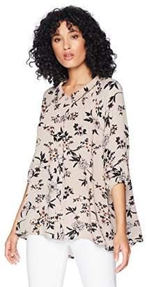 Romantic Dreamers Women's Flowy Button-Front Floral- Top