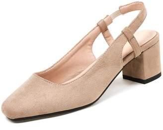 1362a95be13 KingRover Women s Elegant Square Toe Block Heel Pumps Low Cut Closed Toe  Slingback Shoes