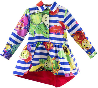 Stella Jean Little Girl Dress With Blue Stripes With Fruits