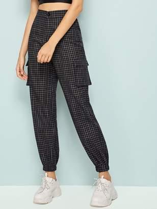 Shein Plaid Print Side Flap Pocket Cargo Pants