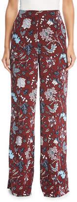 Diane von Furstenberg Floral-Print Wide-Leg Silk-Blend Pants