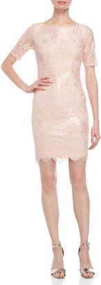 Adrianna Papell Blush Lace Sheath Dress