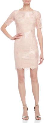 Adrianna Papell Blush Lace Sheath Dress