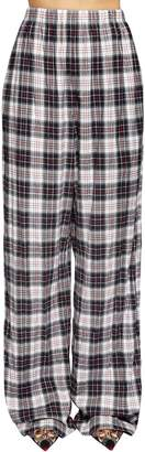 Balenciaga Plaid Light Cotton Flannel Palazzo Pants