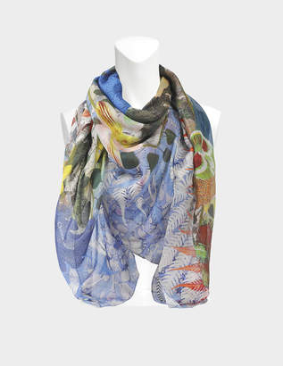 Christian Lacroix 140X140 Herboristerie Scarf in Blue Silk Mussola