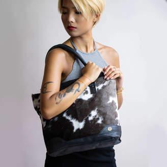 MAHI Leather Black And White Pony Hair Florence Tote Handbag