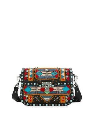 Valentino Rockstud Rolling Glam Santeria Medium Shoulder Bag, Multicolor/Black/Light Cuir $5,445 thestylecure.com