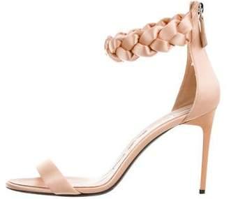 Oscar de la Renta Satin Ankle-Strap Sandals