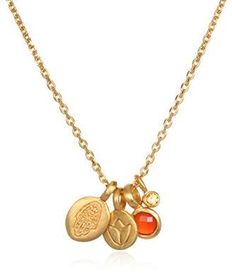 Satya Jewelry Women's Carnelian Gold Hamsa & Lotus Charm Pendant Necklace 18-Inch