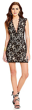 Aidan Aidan Mattox Deep V-Neck Lace Dress