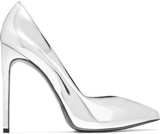 Saint Laurent - Paris Mirrored-leather Pumps - Silver $695 thestylecure.com