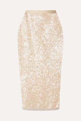 Miu Miu Sequined Tulle Midi Skirt - Beige