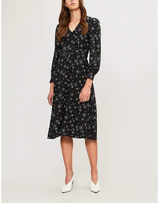 Claudie Pierlot Belted printed silk midi dress