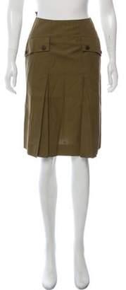 Chanel Pleated Knee-Length Skirt Olive Pleated Knee-Length Skirt