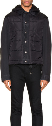 Greg Lauren Nylon Denim Hooded Trucker Jacket in Black | FWRD
