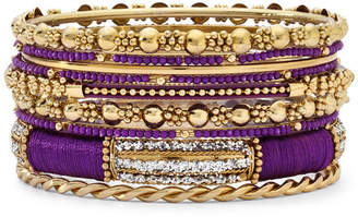 Chaps Purple & Gold-Tone Mixed Media 9-Pc. Bangle Set