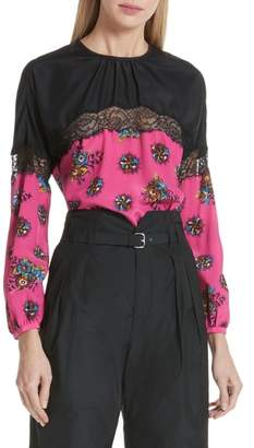 RED Valentino Floral Print Lace Trim Silk Blouse