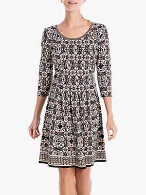 Max Studio Half Sleeve Printed Jersey Dress, Black/Blush