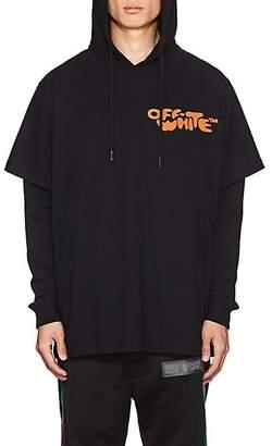 Off-White Men's Logo-Print Layered Hoodie - Black