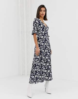AX Paris Long sleeve floral dress in blue