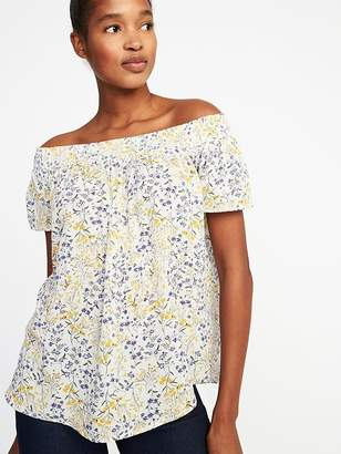 Old Navy Relaxed Floral Off-the-Shoulder Top for Women