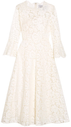 Valentino - Corded Cotton-blend Guipure Lace Midi Dress - Ivory $5,650 thestylecure.com