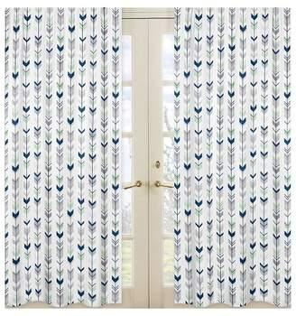 JoJo Designs Sweet Window Panels - Navy & Mint Mod Arrow - 2pk