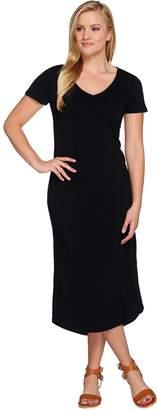 C. Wonder Short Sleeve Slub Knit Midi Dress with Patch Pocket