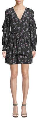 La Maison Talulah Chaleur V-Neck Long-Sleeve Floral-Print Silk Mini Dress