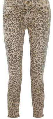 Current/Elliott The Stiletto Leopard-Print Mid-Rise Slim-Leg Jeans