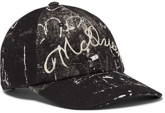 Alexander McQueen Leather-Trimmed Embroidered Printed Cotton-Canvas Baseball Cap - Men - Black