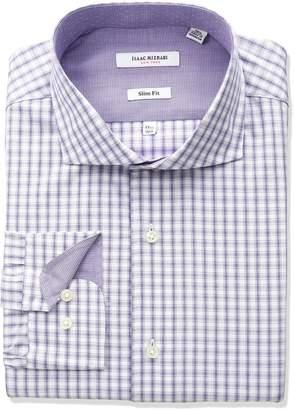 Isaac Mizrahi Men's Slim Fit Multi Check Cut Away Collar Dress Shirt