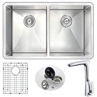 """ANZZI Vanguard 32"""" L x 18"""" W Double Basin Undermount Kitchen Sink with Faucet ANZZI"""