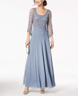 J Kara Embellished Scoop-Neck Gown