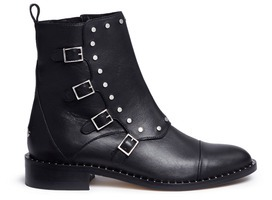 Jimmy Choo Jimmy Choo 'Baxter 35' stud trim buckle flap leather boots
