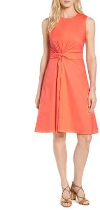 Women's Boss Digiana Front Twist Poplin Fit & Flare Dress $545 thestylecure.com