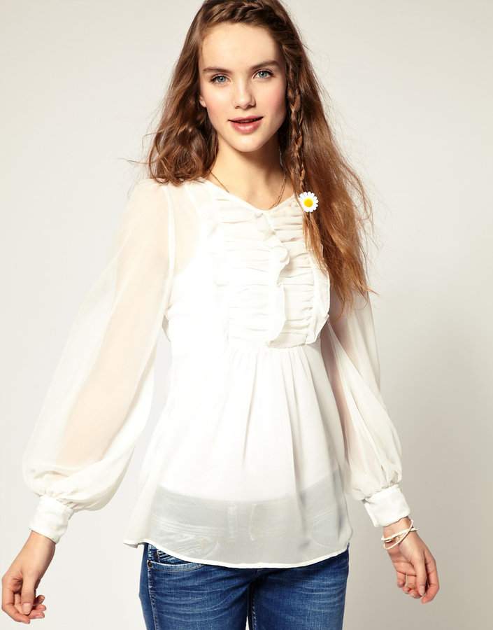 Pepe Jeans Ruffle Front Sheer Blouse