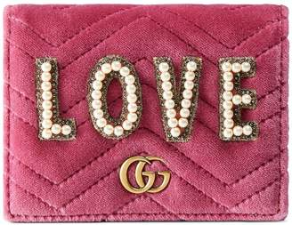 Gucci GG Marmont embroidered velvet wallet